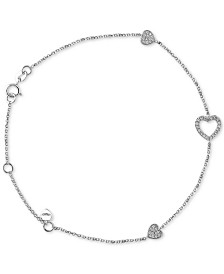 EFFY® Diamond Heart Bracelet (1/5 ct. t.w.) in 14k White Gold