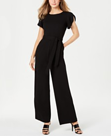 Calvin Klein Petite Flutter-Sleeve Jumpsuit