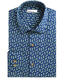 Men's Slim-Fit Stretch Tossed Pineapple-Print Dress Shirt, Created For Macy's
