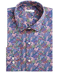Men's Slim-Fit Stretch Sea Life-Print Dress Shirt, Created For Macy's