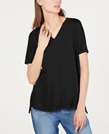 Eileen Fisher High-Low V-Neck Tencel ™ T-Shirt, Regular & Petite