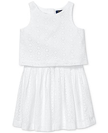 Little Girls Cotton Eyelet Top & Skirt Set
