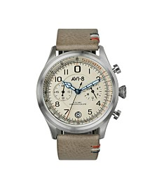 AVI-8 Men's Japanese Quartz Chronograph FlyBoy Lafayette, AV-4054-01, Brown Leather Strap Watch 42mm