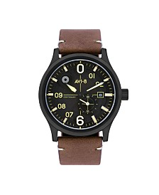AVI-8 Men's Japanese Automatic FlyBoy Centenary 1960's, AV-4060-03, Brown Leather Strap Watch 43mm