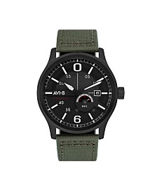 AVI-8 Men's Japanese Automatic FlyBoy Centenary 1980's, AV-4061-03, Green Cordura Leather Strap Watch 43mm