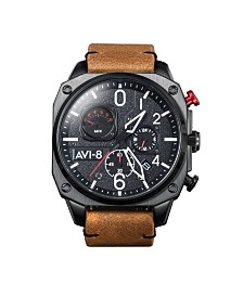 AVI-8 Men's Japanese Quartz Chronograph Hawker Hunter Retrograde Edition, AV-4052-02, Brown Leather Strap Watch 45mm
