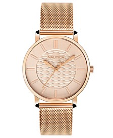 Ladies NAPCGP908 Coral Gables Rose Gold Mesh Stainless Steel Bracelet Watch Box Set + Blue/Beige Saffiano Leather Strap