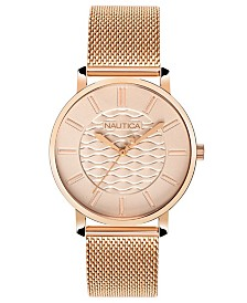 Nautica Ladies NAPCGP908 Coral Gables Rose Gold Mesh Stainless Steel Bracelet Watch Box Set + Blue/Beige Saffiano Leather Strap