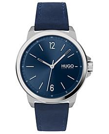 Men's #Lead Blue Leather Strap Watch 42mm