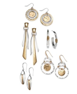Medium Two-Tone Wire-Wrapped Oval Hoop Earrings
