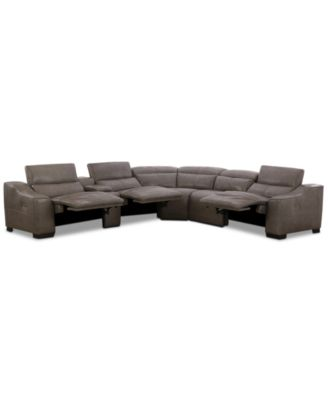 Ruthin 6-Pc. Leather Sectional Sofa with 3 Power Recliners & USB Console