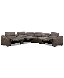 CLOSEOUT! Ruthin 6-Pc. Leather Sectional Sofa with 3 Power Recliners & USB Console