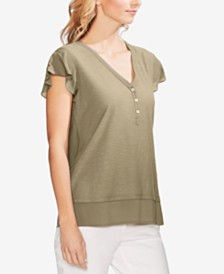 Vince Camuto Layered Flutter-Sleeve Top