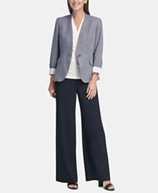 DKNY Denim Collarless Blazer & Sailor Pants
