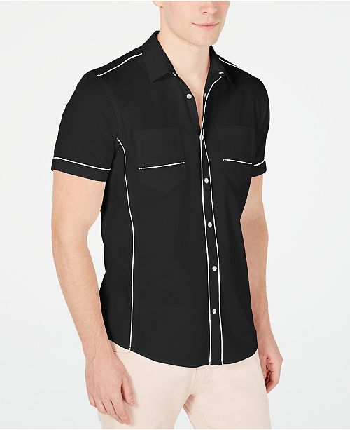 INC International Concepts I.N.C. Men's Piped Ripstop Shirt, Created for Macy's