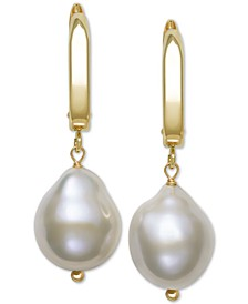 Cultured Baroque Freshwater Pearl (11-12mm) Drop Earrings in 14k Gold