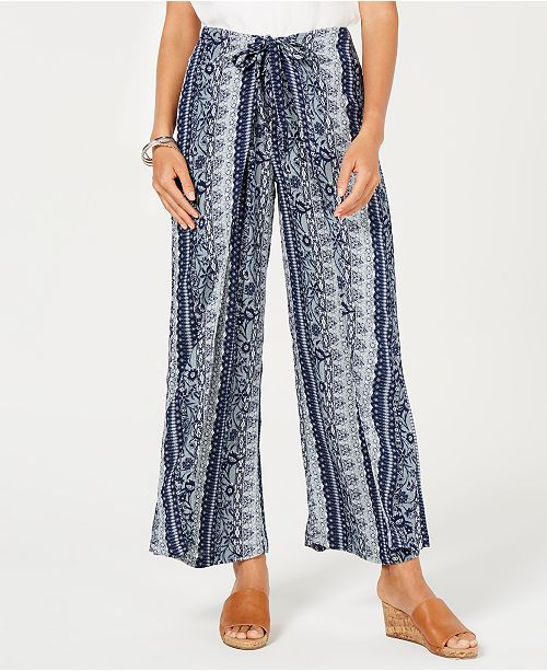 Style & Co Tie-Front Wide-Leg Pants, Created for Macy's