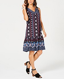 Petite Geo-Print Flounce Dress, Created for Macy's