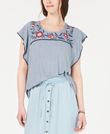 Style & Co Embroidered Knit Flutter-Sleeve Top, Created for Macy's