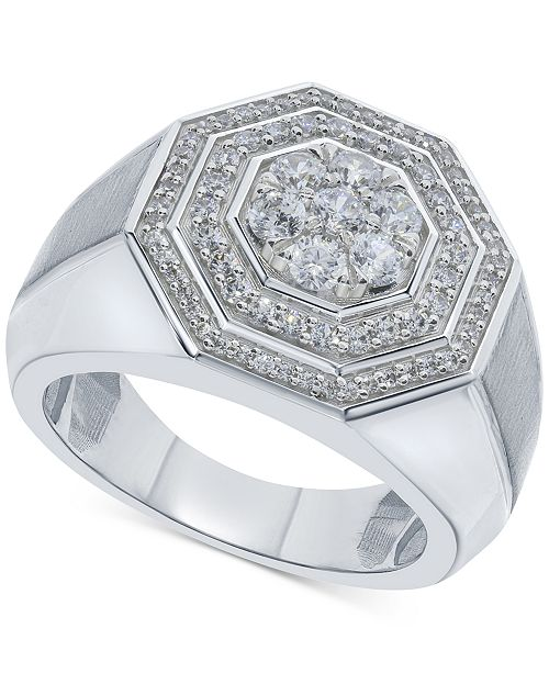 Macy's Men's Diamond Octagon Layered Cluster Ring (1 ct. t.w.) in 10k White Gold