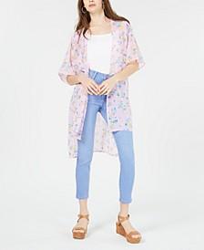 Juniors' Floral Tie-Front Kimono