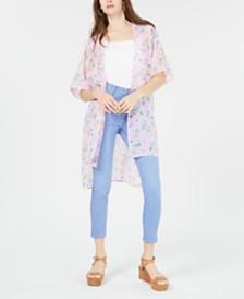 Ultra Flirt Juniors' Floral Tie-Front Kimono