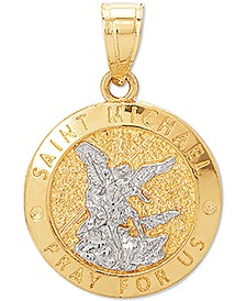 St. Michael Medallion Pendant in 14k Gold