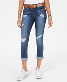 Dollhouse Juniors' Belted Ripped Skinny Jeans