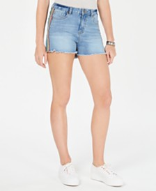 Dollhouse Juniors' Rainbow-Stripe High-Rise Denim Shorts