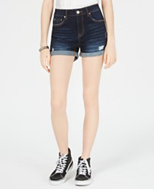 Indigo Rein Juniors' Cuffed High-Rise Denim Shorts