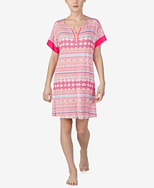 Printed Split-Neck Nightgown