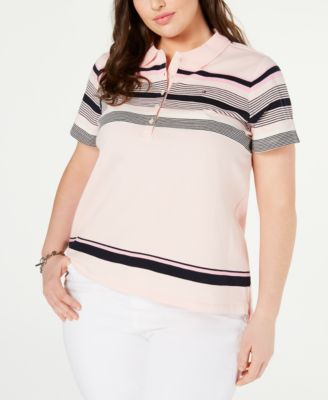 Plus Size Striped Polo Top, Created for Macy's