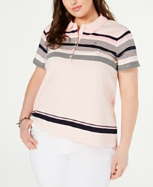 Tommy Hilfiger Plus Size Striped Polo Top, Created for Macy's
