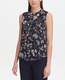 Tommy Hilfiger Ruffle-Front Floral-Print Top
