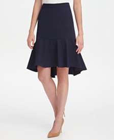 Tommy Hilfiger Twill High-Low Ruffle Skirt