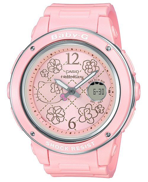 f1f4faee5 Baby-G Women's Analog-Digital Hello Kitty Pink Resin Strap Watch 42.8mm ...