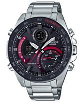 e848d326670f G-Shock Men s Analog-Digital Edifice Silver-Tone Resin Bracelet Watch 48mm