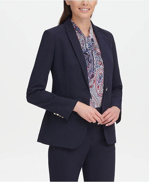 91972b51 Tommy Hilfiger One-Button Blazer & Reviews - Jackets & Blazers ...