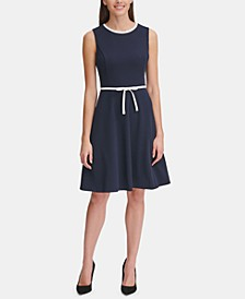 Petite Bow-Waist Scuba Crepe Dress