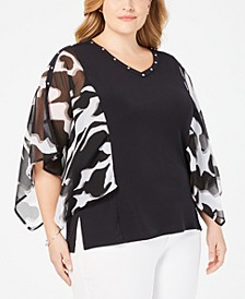 Plus Size Studded Chiffon-Sleeve Top, Created for Macy's