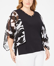 JM Collection Plus Size Studded Chiffon-Sleeve Top, Created for Macy's