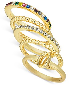 I.N.C. Gold-Tone 5-Pc. Stackable Crystal & Shell Ring Set, Created for Macy's