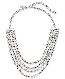 "I.N.C. Silver-Tone Nugget Bead Layered Statement Necklace, 20"" + 3"" extender, Created for Macy's"