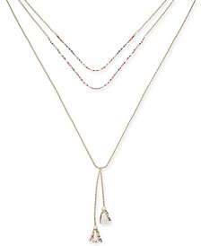 I.N.C. Gold-Tone Bead & Tassel Layered Lariat Necklace, Created for Macy's