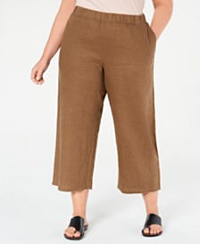 Eileen Fisher Plus Size Organic Linen Wide-Leg Cropped Pants