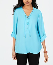 JM Collection Lace-Up Top, Created for Macy's