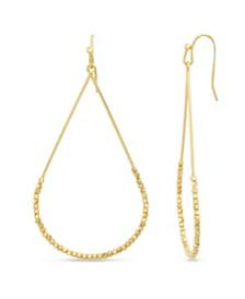 Kensie Women's Polished Beaded Teardrop Shaped Drop Hook Earrings