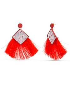 Kensie Women's Rhinestone Floral Square Fringe Drop Post Earrings