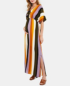 Luxe Essentials Maternity Striped Maxi Dress