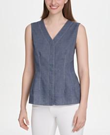 DKNY Contrast-Stitched V-Neck Top